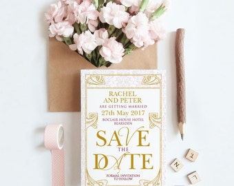 Save The Date - Art Deco- Great Gatsby - Personalised