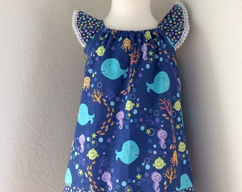 The Annabelle Dress - Sea Life - Girls Flutter Sleeve Dress  - Size 4t - Ready to Ship