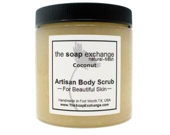 Coconut Body Scrub, Sugar Scrub, Salt Scrub, Exfoliating Natural Scrub, Body Polish, Skin Care, Shea Butter, The Soap Exchange