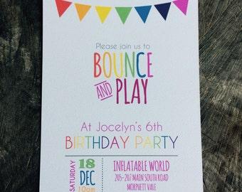 Bouncy Castle/Inflatable World Birthday Invitation/party invite boy/girl