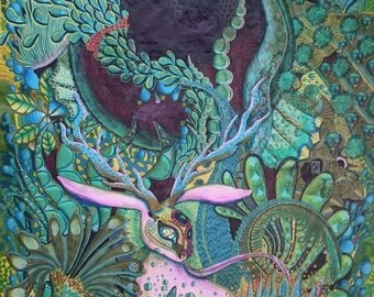 Mother nature, 2016, 97cm * 70cm, ink, colored pencil, fiber artist, fine liner on rice paper