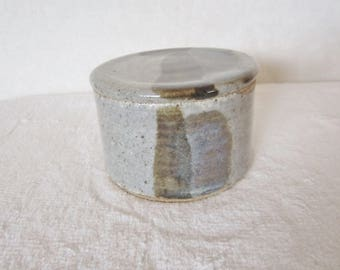 Vintage Pottery Trinket Box, Artist Signed - dominant color gray peppered with tiny dark brown dots. Dark brown abstract designs. Masculine!