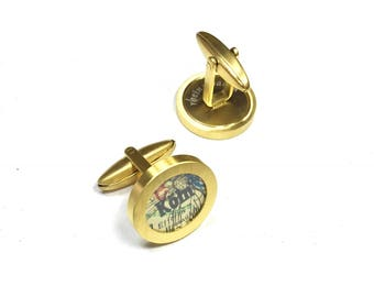 Your favorite Town. Cufflinks with vintage maps. Personalized. Choose 2 towns.