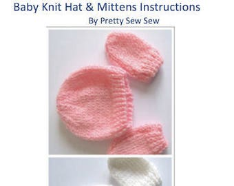 Baby hat and baby mittens knitting pattern for download