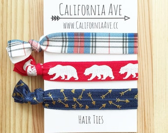 Cabin Preppy Hair Tie Set of 3, outdoors gift