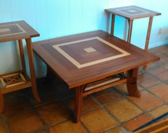 Large square coffee table and matching end tables