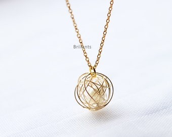 Love Knot Necklace, Tangle Knot, Wired pearl necklace in gold, Bridesmaid jewelry, Everyday necklace, Wedding necklace