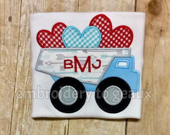 Valentine's Day Dump Truck T-Shirt or Infant Bodysuit,Toddler Boys Valentines Day Shirt, Valentine's Day Shirts Boys, Boys Valentines Shirts