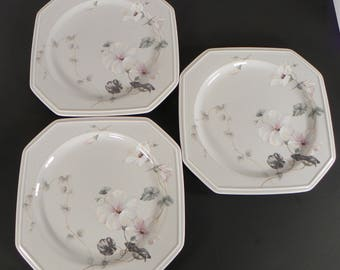 Mikasa Woodsong Square Salad Dessert Plate (s) LOT OF 3 Color Trend DR726 Made in Japan Gray Background