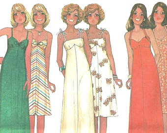 Vtg 70s McCall's 5117 Sewing Pattern sz 12 thru 16 Misses Dress in Two Lengths  Shoulder Straps Midi or Maxi Uncut