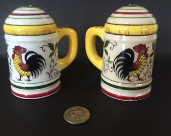 Rooster and Rose Salt and Pepper Shakers
