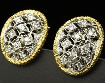 14K Yellow White 2-Tone Gold Diamond Vintage Oval Lattice Openwork Earrings