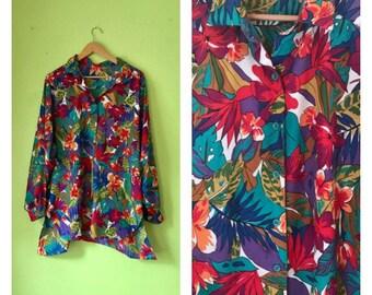SALE Vintage Oversized Shirt Button Down TROPICAL shirt colorful blouse 1980s duster coat plus size clothing Floral blouse BOHO hippie women