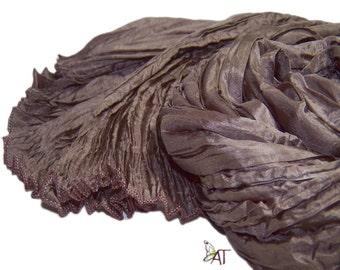 Hand dyed silk scarf - 4 sizes - crinkle scarf - MUD