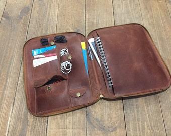 File folder Leather Document Holder Ipad case Leather travel organizer Leather Ipad case  iPad Portfolio Men Work Bag