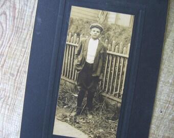 Antique Original Photograph Boy in Cap Sepia Tones on Black Cardstock - 1900's