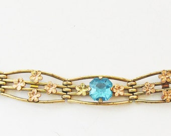Sophisticated Vintage 1930s Signed PR.ST Co (Providence Stock Company) Gold Filled Rhinestone Bracelet