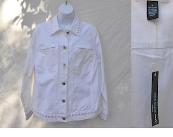 NWT 1980s White Denim Jacket Embellished Novelty Jacket By St. Tropez West // Size XL // Dressy Jean Jacket Hipster Coat