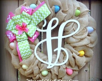 Easter wreath, Easter Egg wreath, Burlap wreath, Easter burlap wreath, Spring wreath, wreath with initial, Spring burlap wreath, Easter door