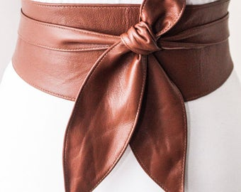 Brown Soft Leather Obi Belt tulip tie| Wedding Western style Outfit | Bridesmaids belt | Waist Cinching Belt | Petite to Plus Size belts