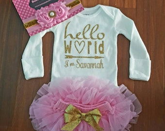 "Gold Vinyl ""Hello World I'm  personalized name bodysuit,Pink chiffon Tutu Bloomers,&Headbnd Set,baby girl,newborn,hospital outfit,take home"