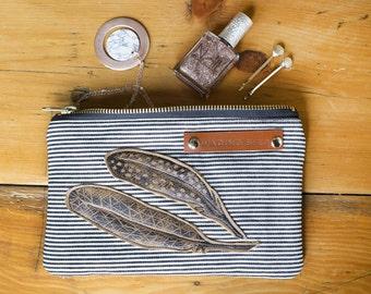 leather purse, stripe purse, coin purse, make up bag, handbag organiser, zipped pouch, handprinted purse