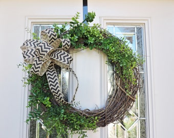 Boxwood Wreath with Chevron Burlap Bow,Green Wreath for front door,Boxwood Wreath,Eucalyptus Wreath,Front Door Wreath,Grapevine Wreath