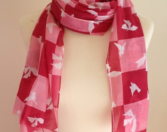 Origami bird scarf - white dove scarf - red and pink checkerboard - abstract scarf - contemporary scarf - ladies shawl wrap - in 100% cotton