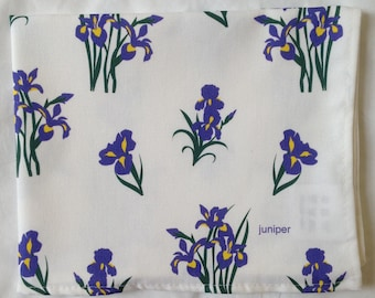 Blue iris tea towel - blue iris kitchen towel - blue iris floral towel - in 100% cotton
