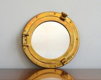 Vintage Brass Porthole Mirrored Porthole Maritime Fixture Coastal Nautical Industrial Brass Decor