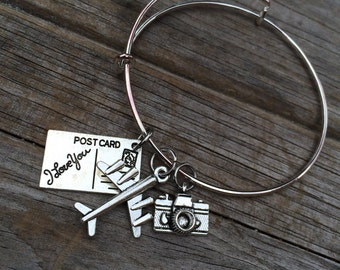 Travel Love bracelet, Travel Bracelet, camera Bracelet, Charm Bangle, Charm bracelet, photography bracelet