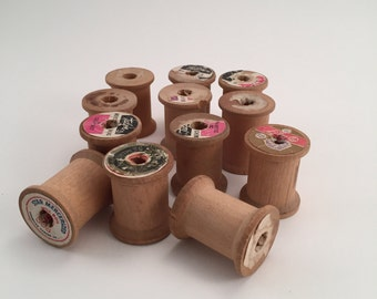 Small Vintage Wooden Thread Spools 1x1 3/16 inches