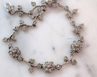 14K White Gold Diamond Floral Bracelet- Has Matching Necklace & Earrings