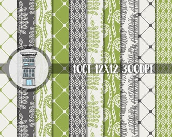 Green Digital Paper Pack INSTANT DOWNLOAD Ferns & Fiddlehead Patterns Papers Digital Scrapbooking Planner Printables Greenery Ferns Plants