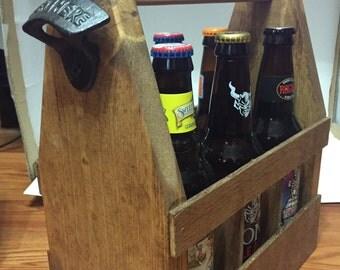 Rustic Wooden Beer Tote, Beer Caddy, Beer Carrier, Groomsman gift, Wedding party gift, Craft Beer, gift idea, Man Cave, mens cooler
