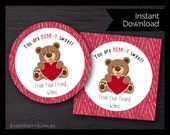 Valentine Bear with Heart Favor Tag, Valentine's Treat Bag, Instant Download, Editable
