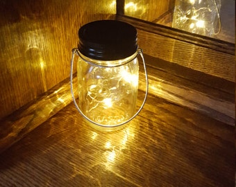 Mason Jar Solar Lid Light - Twinkling Soft Yellow - Angel Lights - Firefly - solar mason jar, mason jar light, fairy light, solar light