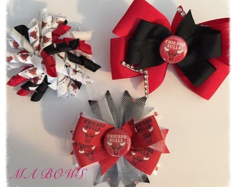 Chicago Bulls inspired Hairbow Bundle... NBA Hairbow