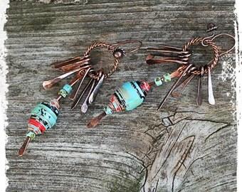 Boho dangle earrings for women, Copper fringe earrings, Summer festival earrings, Stacked bead earrings, Long multicolor tribal earrings,