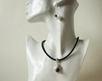 faceted Amethyst Pearl Necklace Freshwater Pearl rubber disc