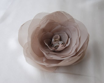 Large taupe chiffon camellia hair clip;taupe bridal hair flower;tape hair flower