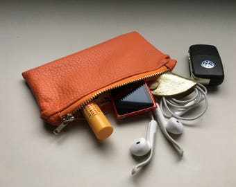 Orange Coin Purse with Nickel Color Metal Zipper Pouch Vegan Faux Leather Wallet