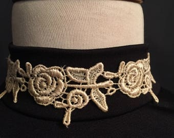 Cream Lace on Black Velvet Choker