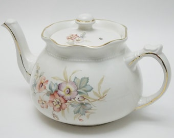 Arthur Wood & Son Ruffled Teapot Pink Purple Flowers Vintage Tea Pot Made in England