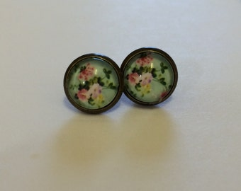 Floral peony pastel green stud earrings shabby chic art deco