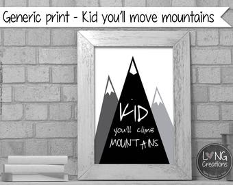 mountain digital print - you'll move mountains - quote printable - nursery decor - minimalist print - monochrome wall art - instant download