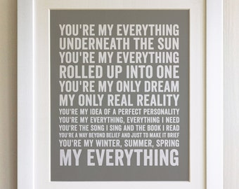 FRAMED Lyrics Print - Nat King Cole, You're my Everything - 20 Colours options, Black/White Frame, Wedding, Anniversary, Valentines, Picture