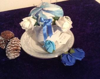 Pretty blue and white teacup pin cushion