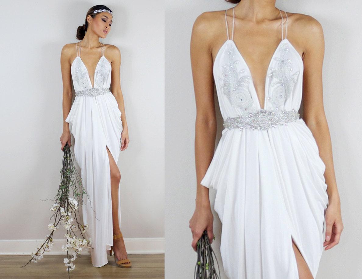 Perlen Hochzeit Kleid griechische Hochzeitskleid Elfenbein
