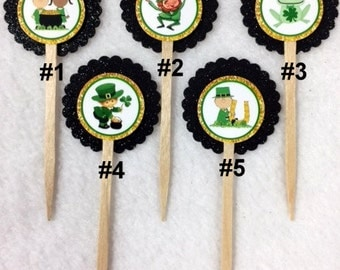 Set Of 12 ST. Patrick's Day Cupcake Toppers (Your Choice Of 12)